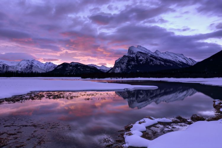 Canada Alberta National Park winter lake reflection wallpaper