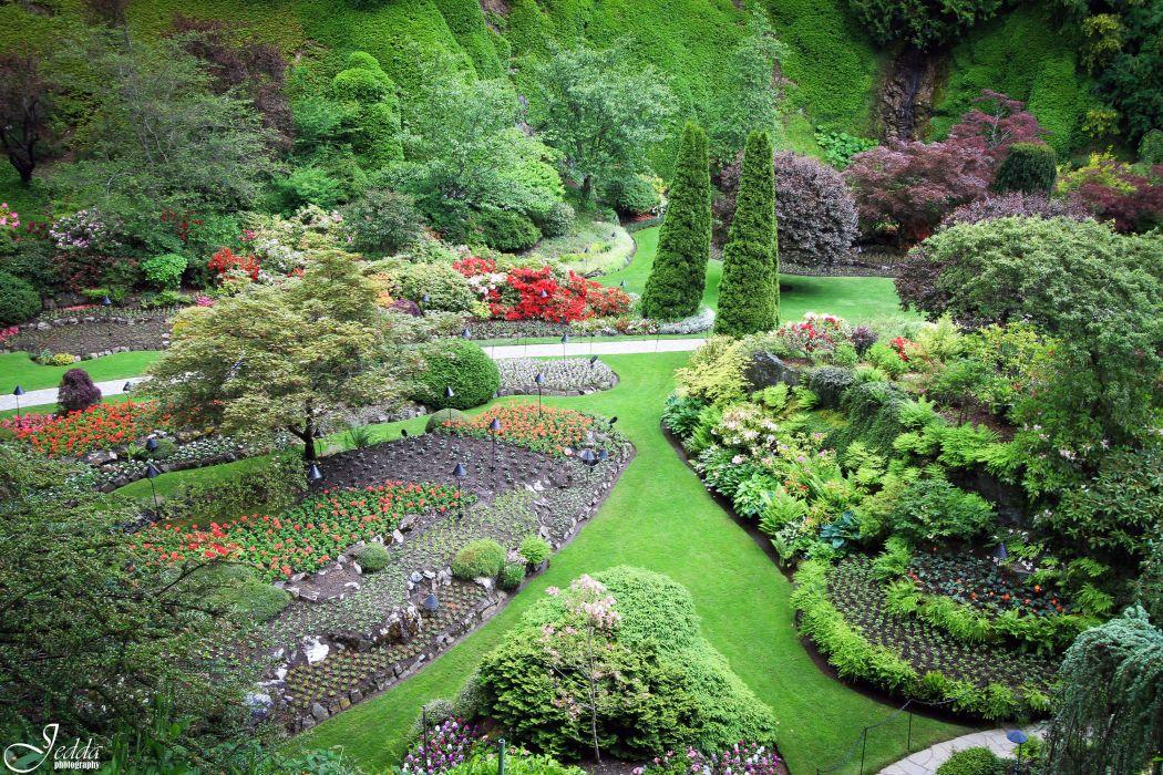 Canada Gardens Butchart Gardens Lawn Trees Shrubs Nature wallpaper