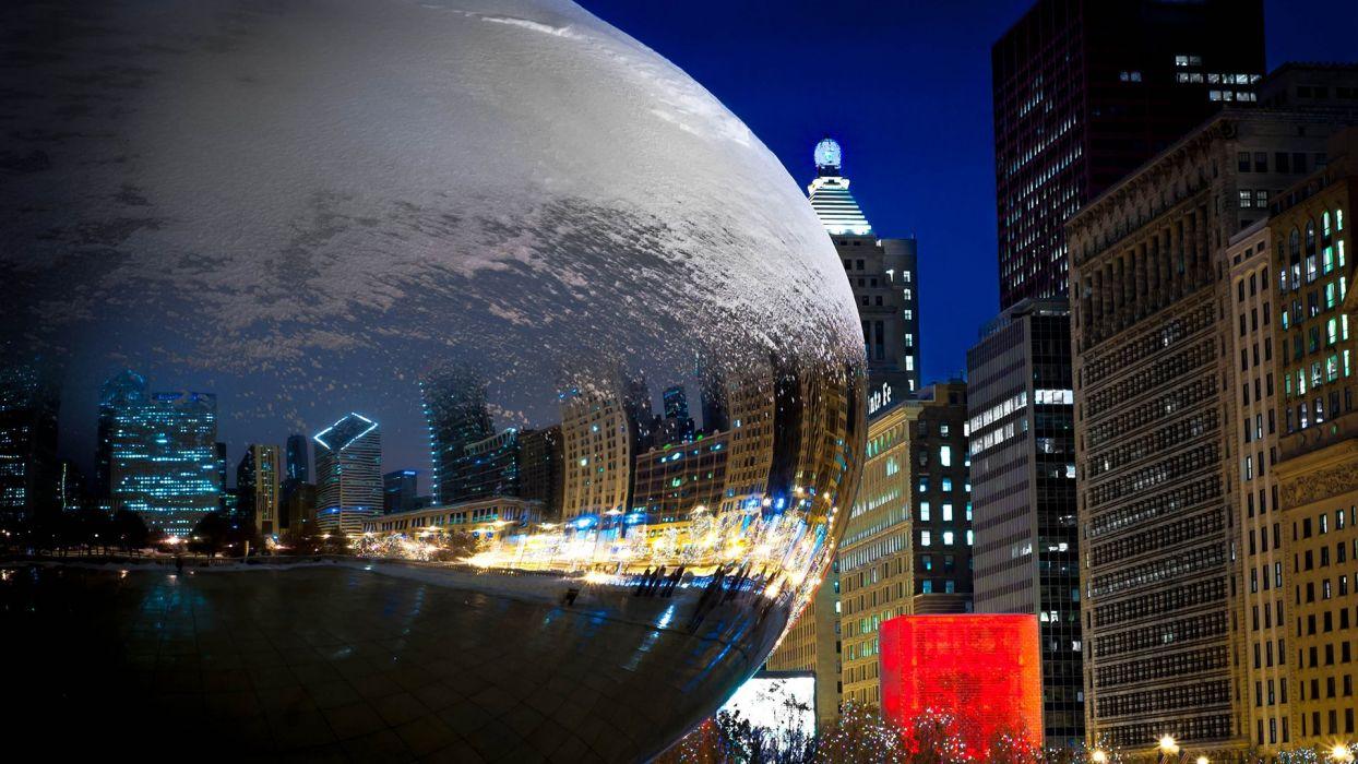 ChicagoBuildings Skyscrapers Reflection Night Millennium Park wallpaper