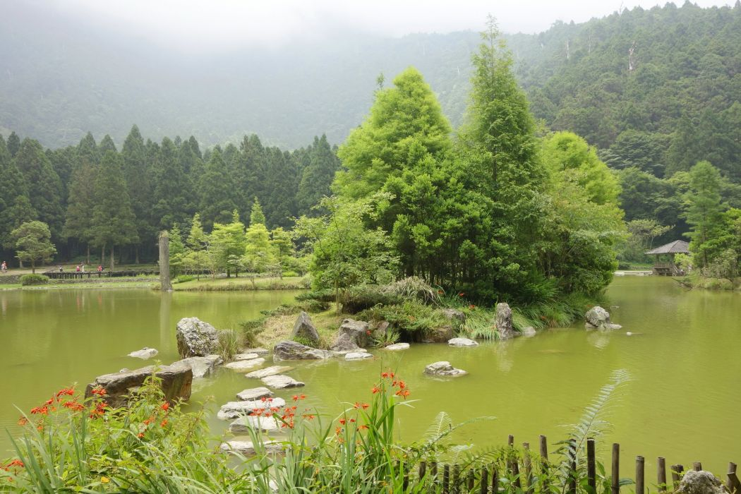 China Parks Pond Stones Taiwan Trees Nature wallpaper