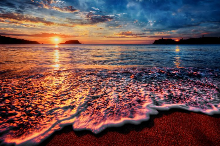 Coast Sea Sunrises and sunsets Sky Clouds Nature wallpaper
