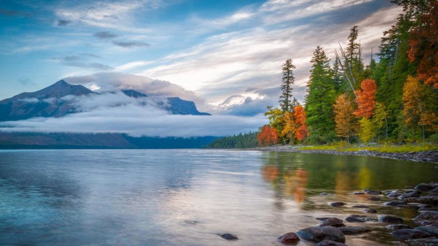 forest autumn mountains lake clouds wallpaper