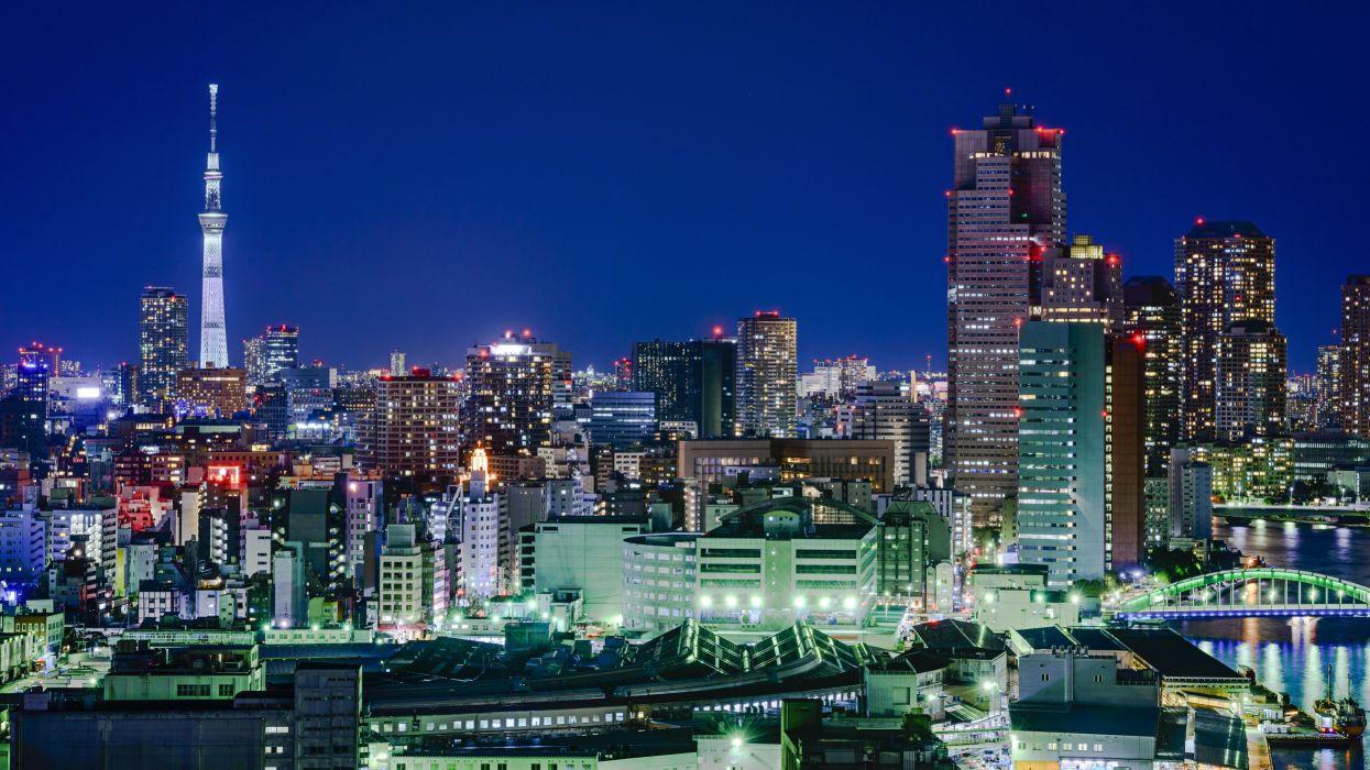 Japan Skyscraper Tokyo Megapolis Night Cities wallpaper