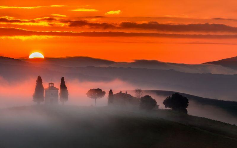 landscape nature morning mist sunrise wallpaper