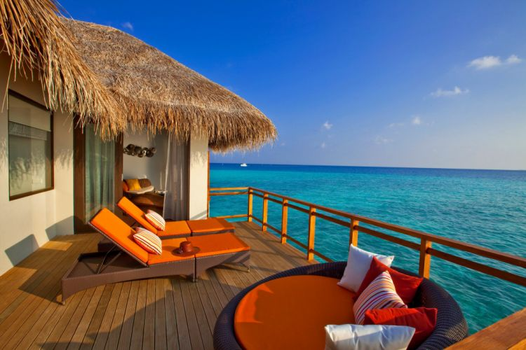 Maldives sea bungalow sky ocean e wallpaper