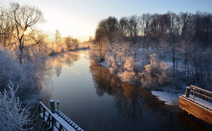 morning winter river Sweden wallpaper
