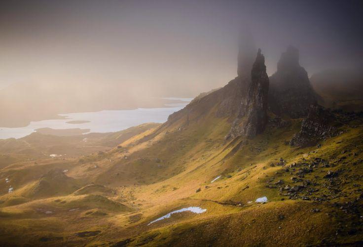 mountains United Kingdom Scotland fog wallpaper