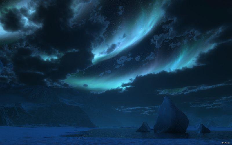 night sea glow clouds sky wallpaper