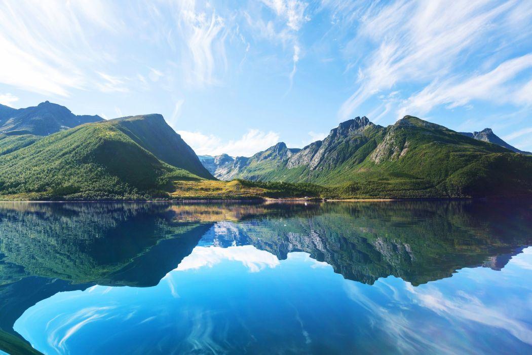 Norway Lake Mountains Sky Water Nature wallpaper