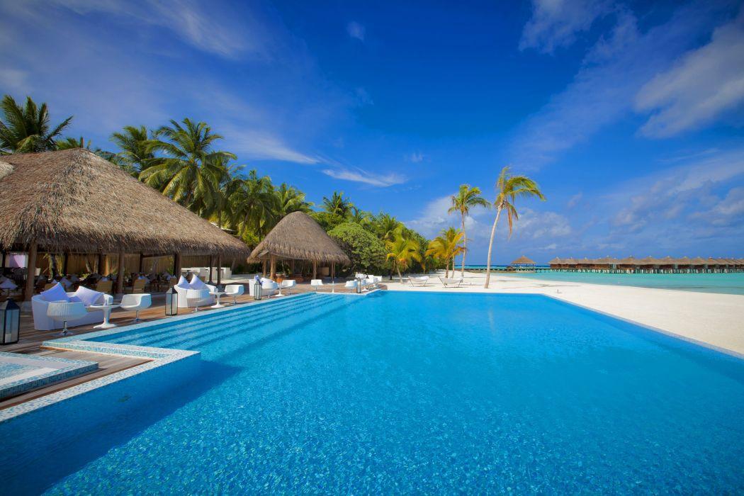 ocean sea Maldives pool sky wallpaper