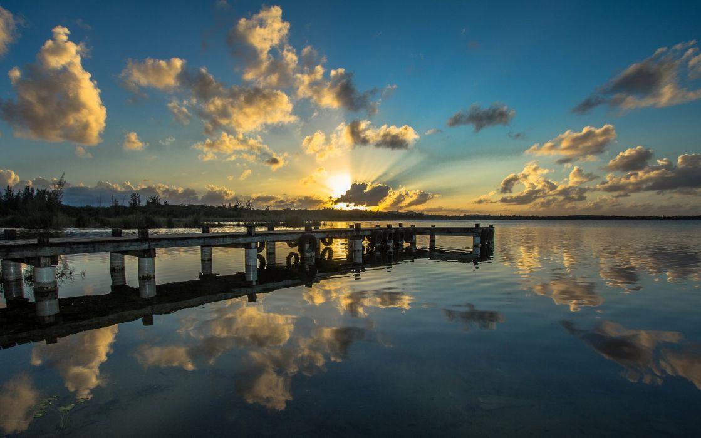 Puerto Rico reflection sunset lake sea wallpaper