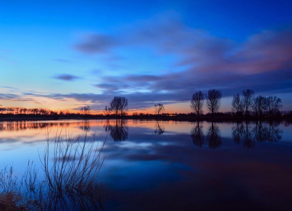 river water sunset reflection wallpaper