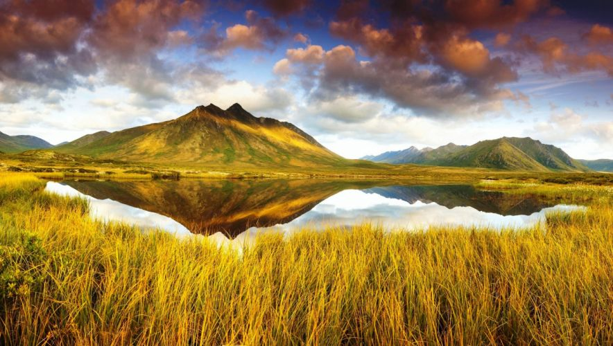 Scenery Canada Lake Mountains Sky Tombstone Territorial Park Yukon Grass Nature wallpaper