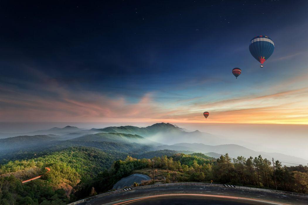 Scenery Sunrises and sunsets Sky Aerostat Nature wallpaper