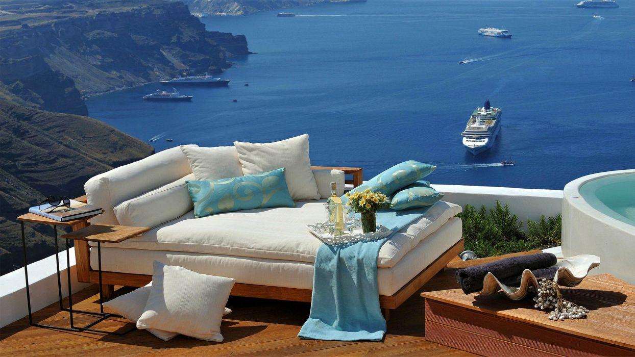 sofa ship sea greece ship design f wallpaper