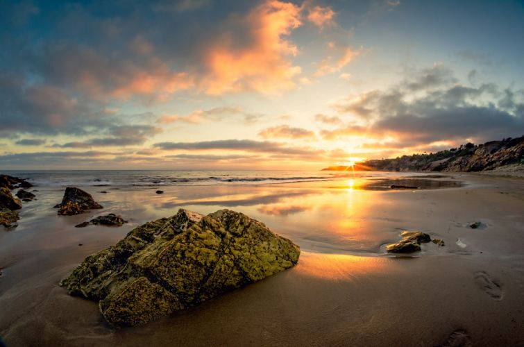 stones beach sunset sand sea e wallpaper