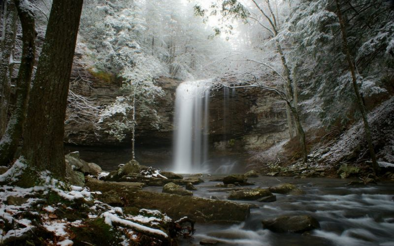 stream snow forest river winter waterfall wallpaper