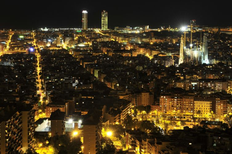 Spain Houses Barcelona Megapolis Night Cities wallpaper