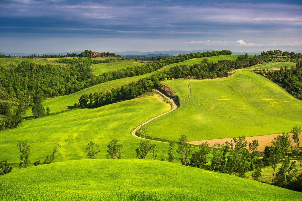 sky fields Tuscany cloud italy wallpaper