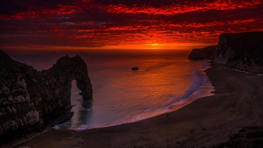 sunset sea ocean beaxh wallpaper