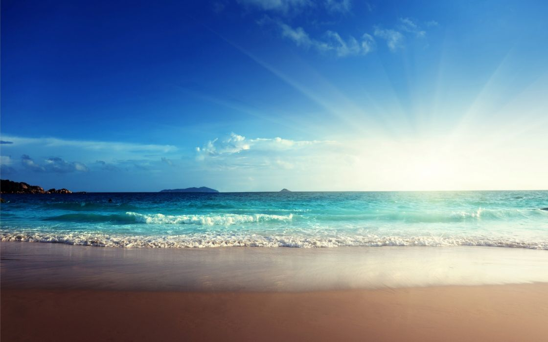 Sunshine Emerald Beach Sand Blue Sea Wallpaper