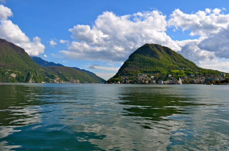 Switzerland Lake Mountains Houses Scenery Lugano Clouds Nature wallpaper