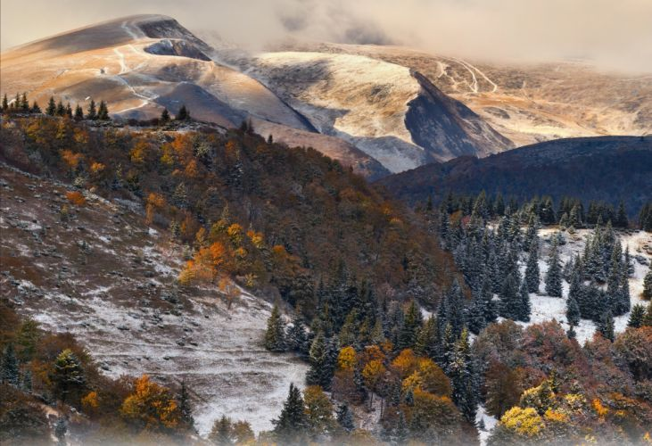 trees clouds mountains forest snow autumn wallpaper