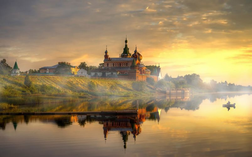 Volkhov Nicholas Monastery lake sunset church f wallpaper