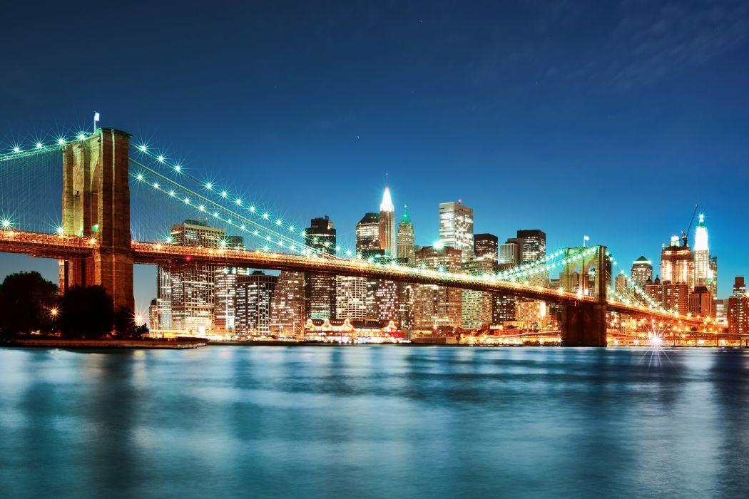 USA River Bridge Skyscraper New York City Night Fairy lights Cities wallpaper