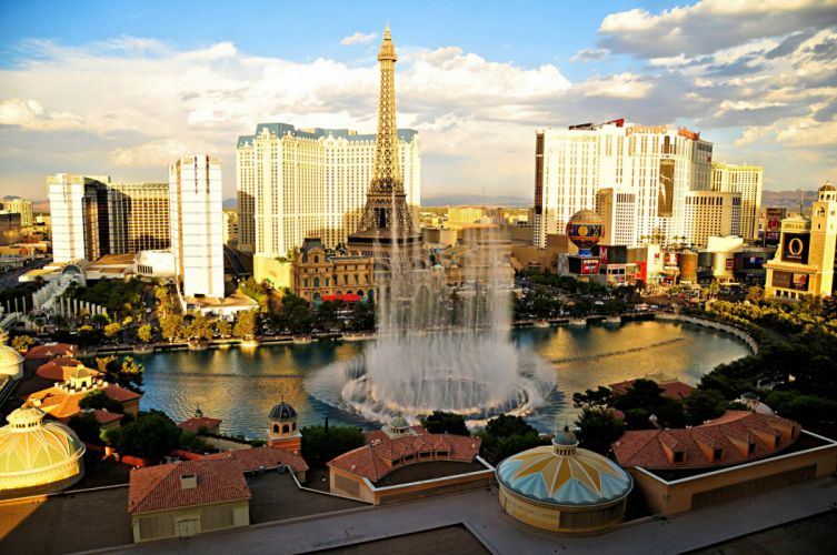 USA Skyscrapers Fountains Las Vegas Eiffel Tower Cities wallpaper