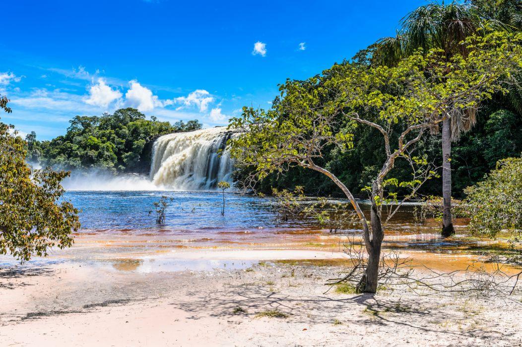 Venezuela Rivers Waterfalls Coast Parks Canaima Nature wallpaper