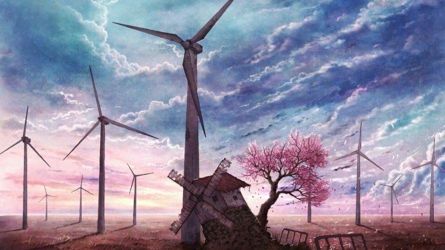 windmill farm mill wind power landscape rustic (12) wallpaper