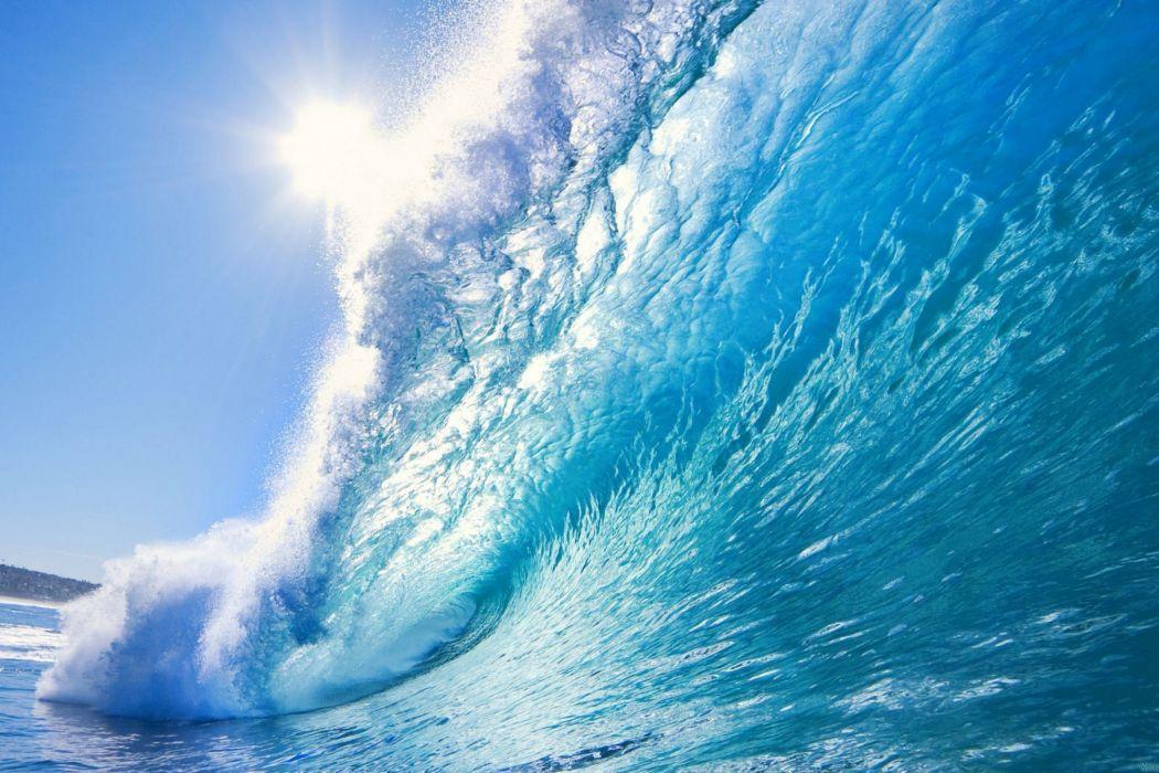 water wave sea sun wallpaper
