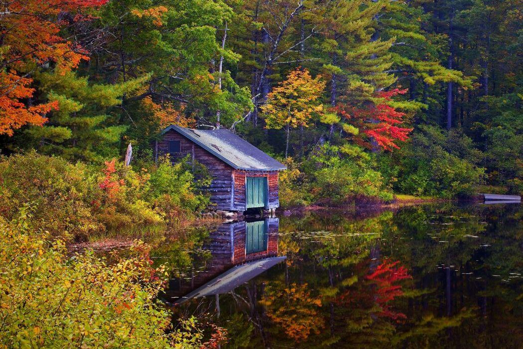 lake house forest trees landscape autumn wallpaper