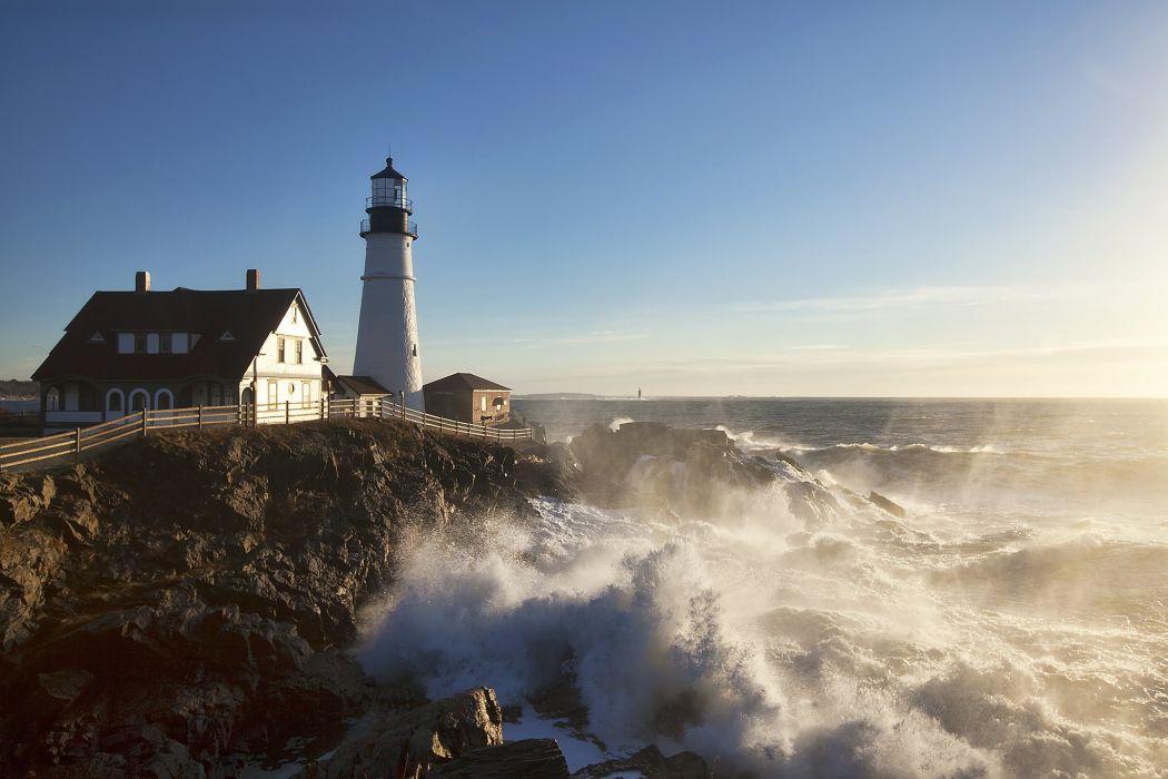 Lighthouse sea ocean f wallpaper