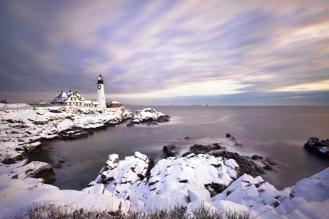Lighthouse sea ocean d wallpaper
