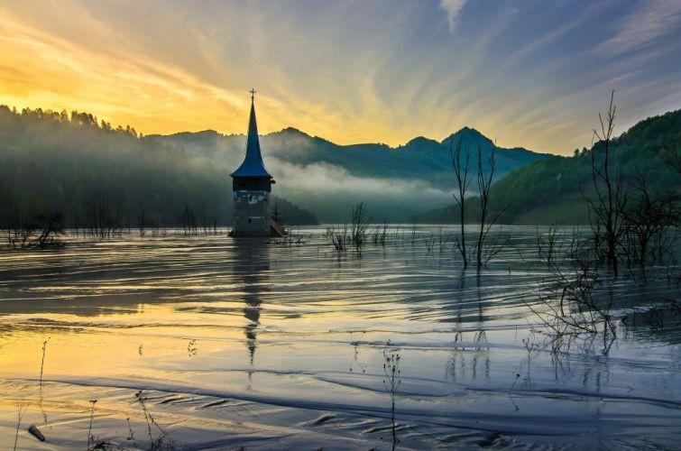 mountains nisin flood church river disaster wallpaper