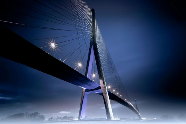 night lights fog bridge wallpaper