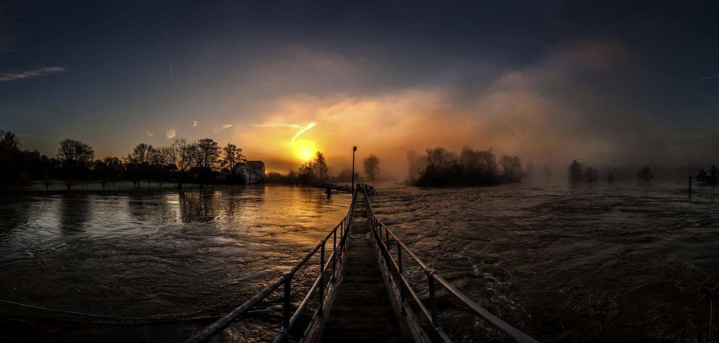 sun sunrise bridge river wallpaper