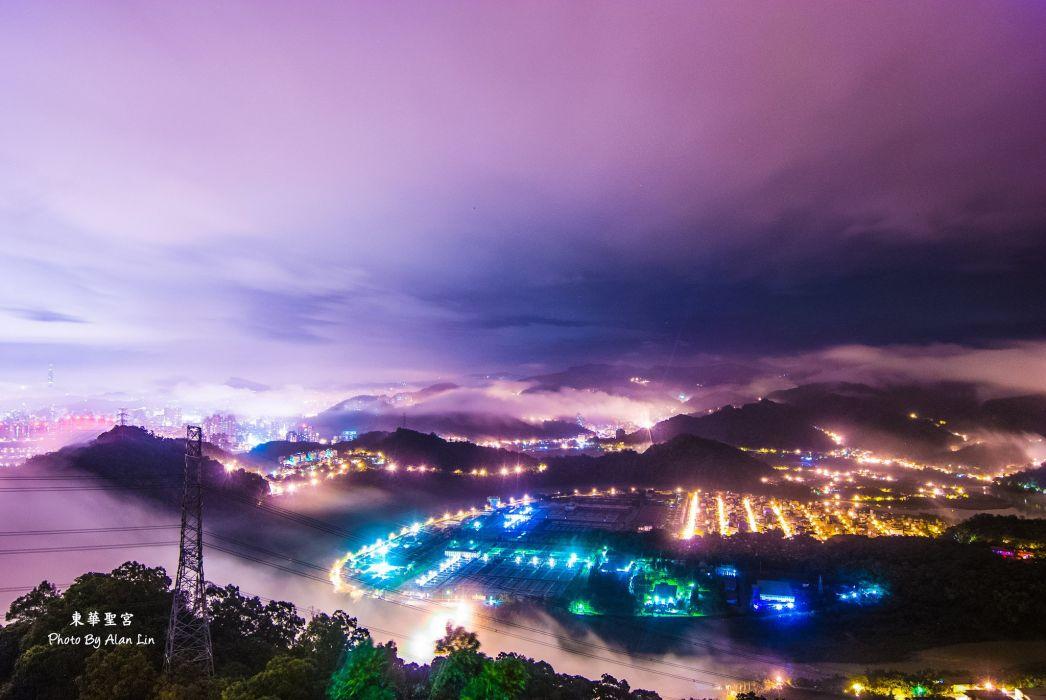 taiwan lights dusk china evening wallpaper
