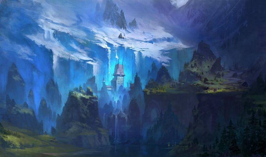 art painted landscape river house hills trees mountains snow wallpaper