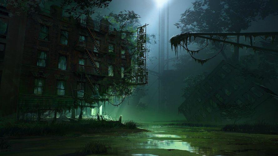 AsianApocalypse Night Overgrowth Abandon Deserted Dilapidated wallpaper
