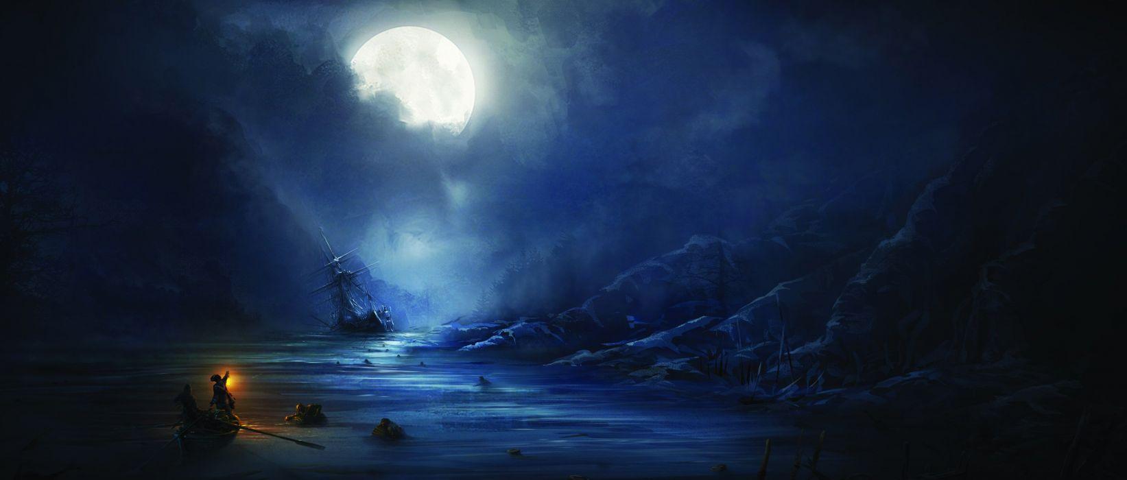 Assassin's Creed 3 sea night moon ship people wallpaper