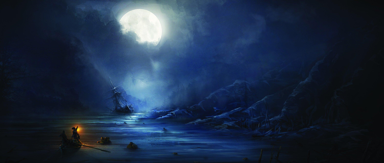 assassins creed 3 sea night moon ship people wallpaper