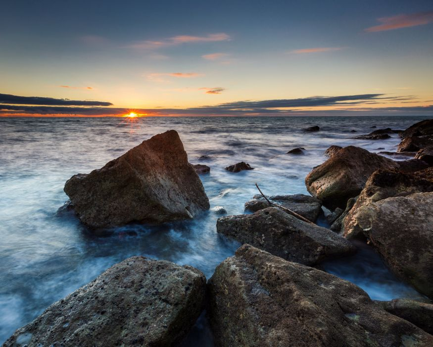 England Coast Sunrises and sunsets Stones Portland Nature wallpaper