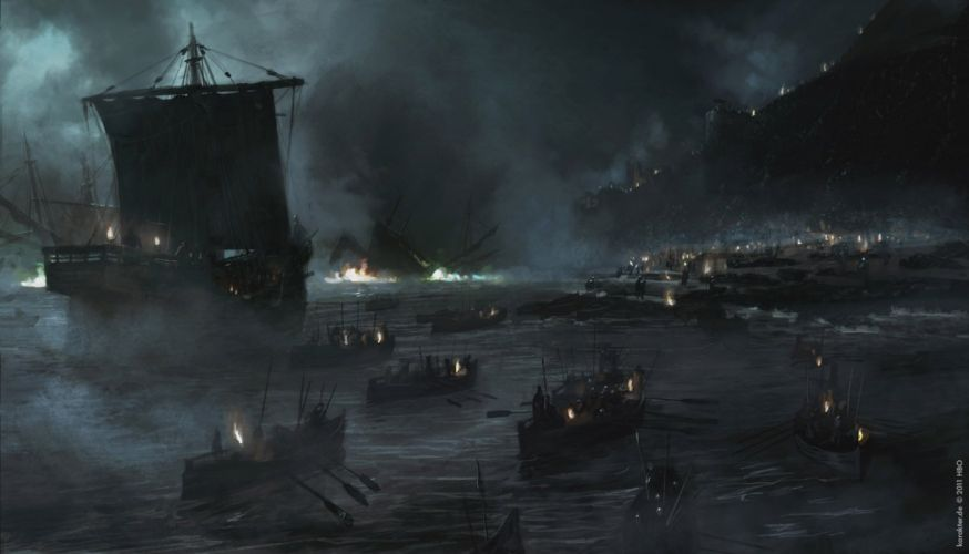 Game of ThronesSong of Ice and Fire Blackwater Ship Drawing wallpaper
