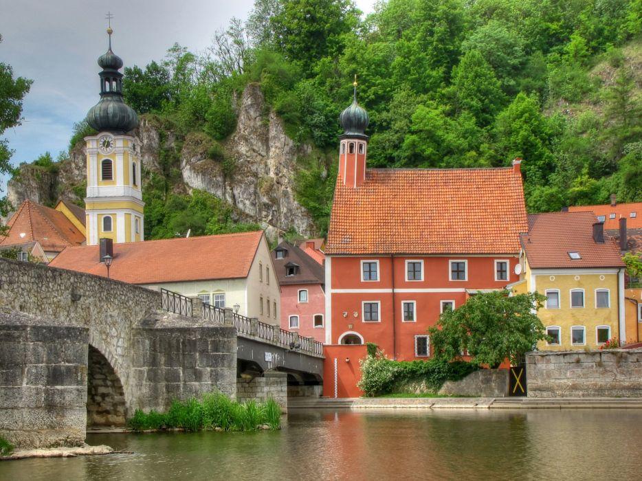 Germany House River Bridge Bavaria wallpaper