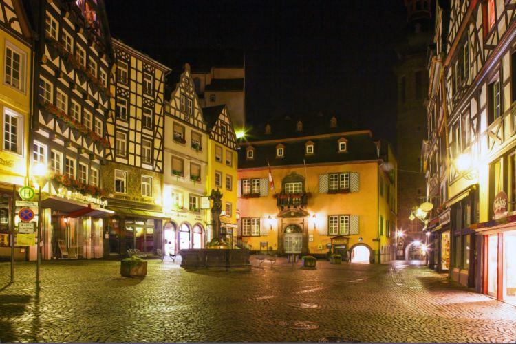 Germany Houses Cochem Street Night Street lights Cities wallpaper