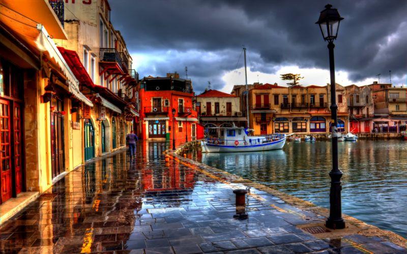 Greece the promenade buildings boats lights wallpaper