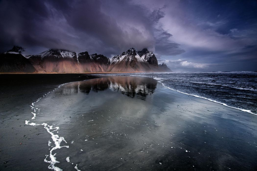 Iceland Mountain Beach Black Sand Sea Ocean Wallpaper 2048x1367 417231 Wallpaperup